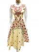 Sleeveless Floral Lace Work Gown Yellow