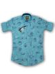 Mens different printed shirt Cornflower Blue