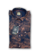 Mens round and leaf printed shirt Brown