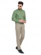 Green Plain Regular Fit Cotton Formal Shirt