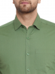 Green Plain Regular Fit Cotton Formal Shirt