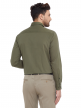 Olive Green Plain Regular Fit Cotton Formal Shirt